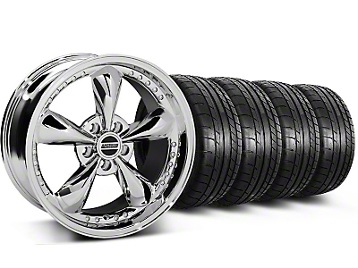 Staggered Bullitt Motorsport Chrome Wheel & Mickey Thompson Tire Kit - 18x9/10 (05-14 GT, V6)