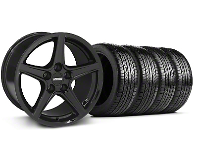 Staggered Saleen Black Wheel & Pirelli Tire Kit - 19x8.5/10 (05-14 GT, V6)