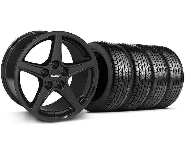 Staggered Saleen Style Black Wheel & Pirelli Tire Kit - 19x8.5/10 (05-14 GT, V6)