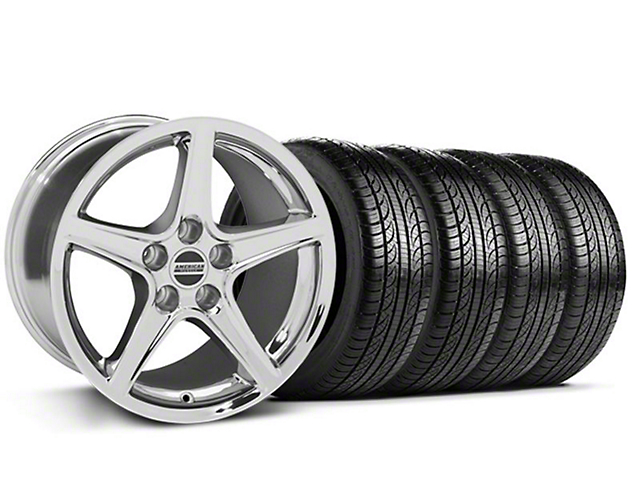 Staggered Saleen Style Chrome Wheel & Pirelli Tire Kit - 19x8.5/10 (05-14 GT, V6)