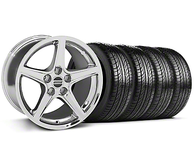 Staggered Saleen Chrome Wheel & Pirelli Tire Kit - 19x8.5/10 (05-14 GT, V6)