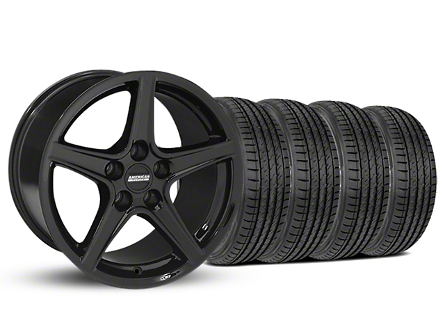Staggered Saleen Style Black Wheel & Sumitomo Tire Kit - 19x8.5/10 (05-14 GT, V6)