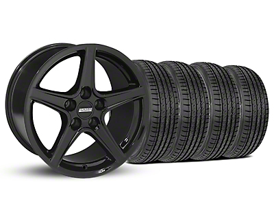 Staggered Saleen Black Wheel & Sumitomo Tire Kit - 19x8.5/10 (05-14 GT, V6)