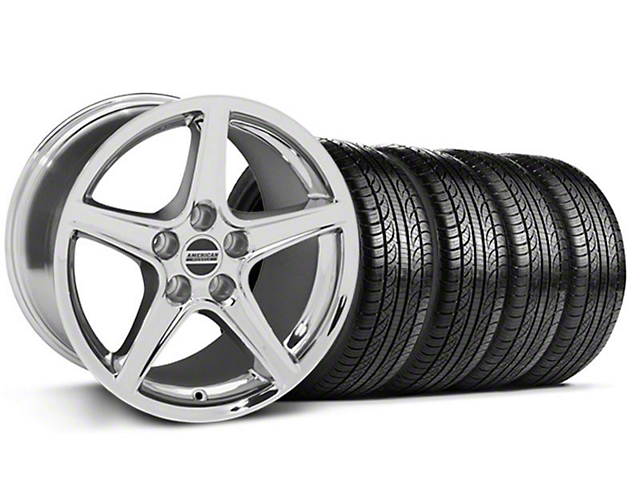 Staggered Saleen Style Chrome Wheel & Sumitomo Tire Kit - 19x8.5/10 (05-14 GT, V6)