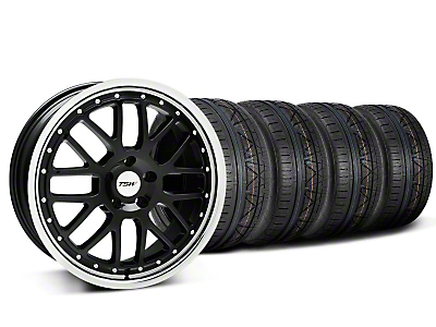 Staggered TSW Valencia Black w/ Polished Lip Wheel & NITTO INVO Tire Kit - 19x8/9.5 (05-14)