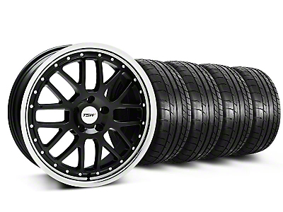TSW Staggered Valencia Black w/ Polished Lip Wheel & Mickey Thompson Tire Kit - 19x8/9.5 (05-14)