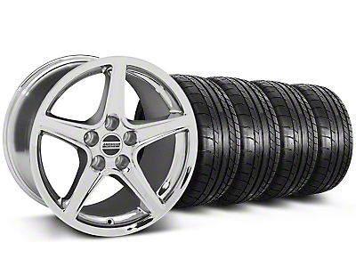 Staggered Saleen Style Chrome Wheel & Mickey Thompson Tire Kit - 19x8.5/10 (05-14 GT, V6)