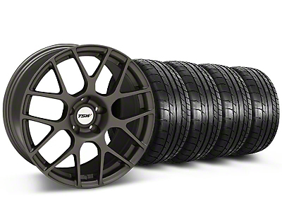 Staggered TSW Nurburing Matte Gunmetal Wheel & Mickey Thompson Tire Kit - 20x8.5/10 (05-14)