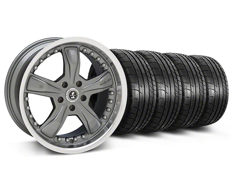 Staggered Shelby Razor Gunmetal Wheel & Mickey Thompson Tire Kit - 20x9/10 (05-14 GT, V6)