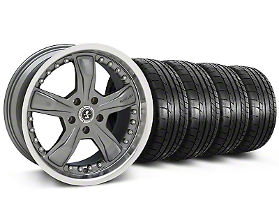 Shelby Staggered Razor Gunmetal Wheel & Mickey Thompson Tire Kit - 20x9/10 (05-14 GT, V6)