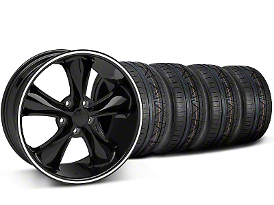 Staggered Foose Legend Black Wheel & NITTO INVO Tire Kit - 20x8.5/10 (05-14 GT, V6)