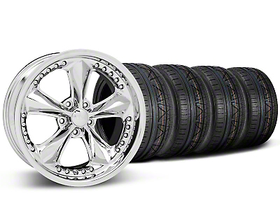 Staggered Foose Nitrous Chrome Wheel & NITTO INVO Tire Kit - 20x8.5/10 (05-14 GT, V6)