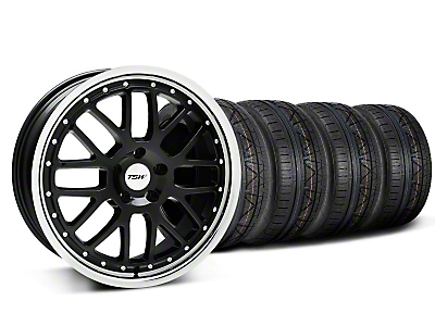 Staggered TSW Valencia Black w/ Polished Lip Wheel & NITTO INVO Tire Kit - 20x8.5/10 (05-14)