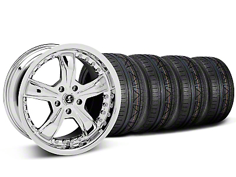 Staggered Shelby Razor Chrome Wheel & NITTO INVO Tire Kit - 20x9/10 (05-14 GT, V6)