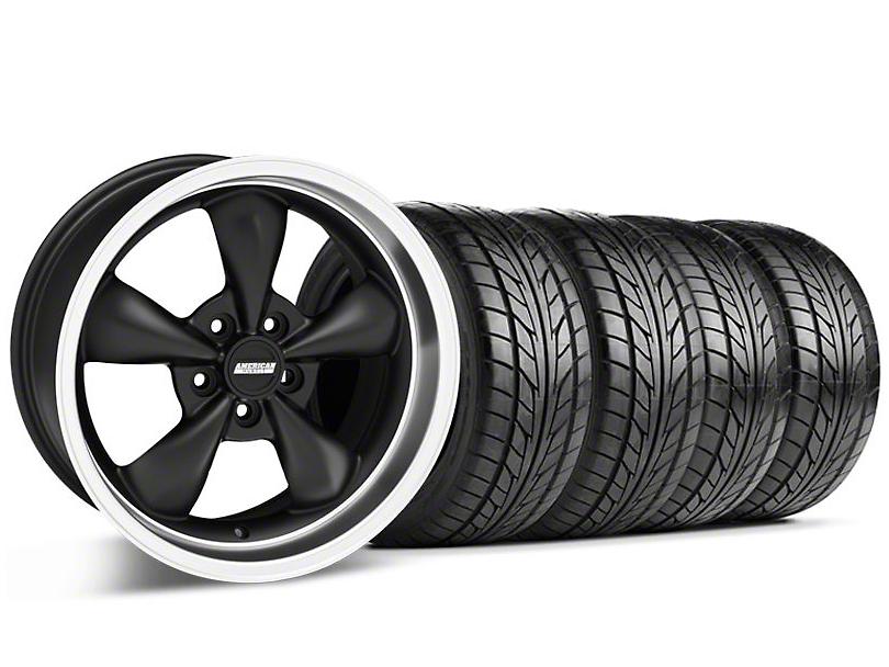 Bullitt Matte Black Wheel & NITTO Tire Kit - 17x9 (87-93 5 Lug Conversion)