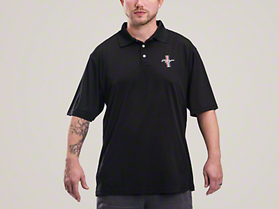 Mustang Tri-Bar Performance Polo Shirt - Black