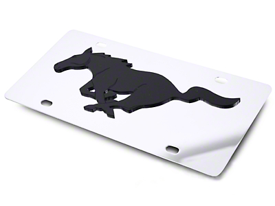 Front License Plate - Black Pony on Mirror (79-16 All)