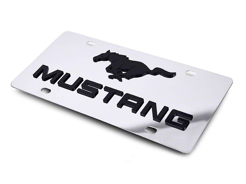 Front License Plate - Black Pony w/ Lettering (79-17 All)
