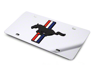 Front License Plate - Tri-Bar Pony on Mirror (79-16 All)