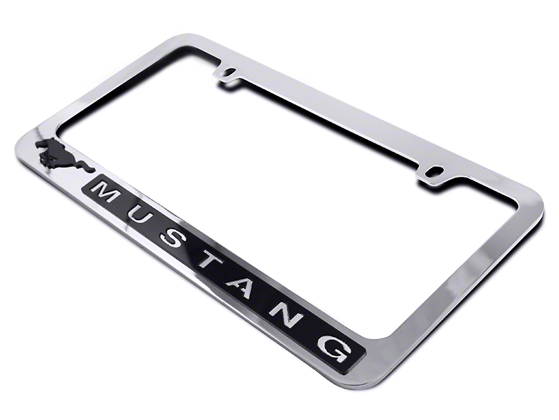 SpeedForm License Plate Frame - Black Pony w/ Mustang Lettering (79-17 All)