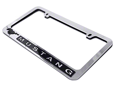 License Plate Frame - Black Pony w/ Mustang Lettering (79-16 All)