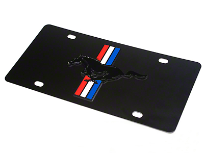 Front License Plate - Tri-Bar Pony on Black (79-16 All)