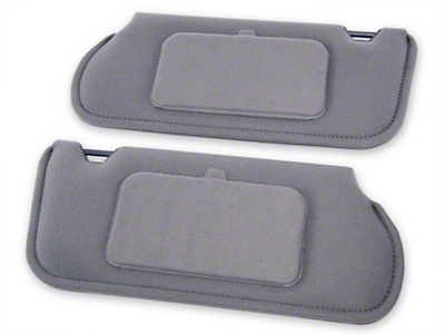 TMI Cloth Sun Visors w/ Mirrors- Coupe/Hatchback - Smoke Gray (85-93 All)
