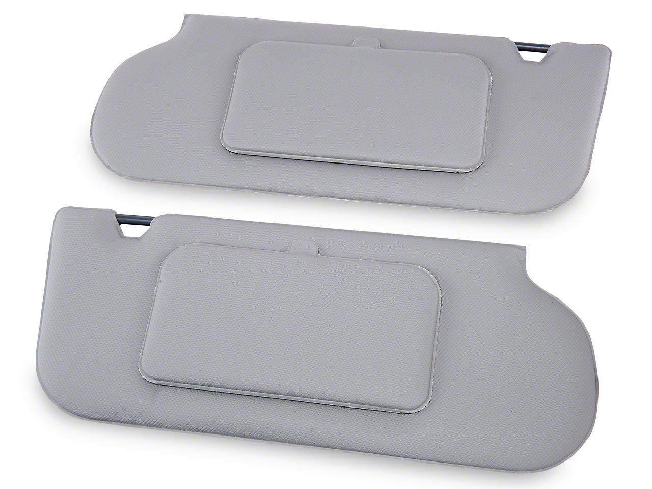 TMI Vinyl Sun Visors w/ Mirrors- T-Top/Sunroof - Titanium Gray (90-92 All)