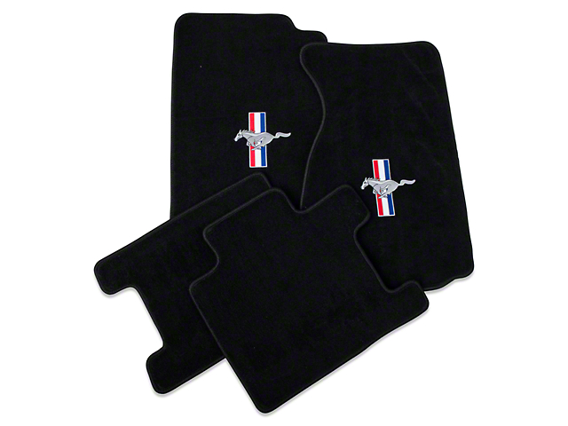 Lloyd Black Floor Mats - Convertible - Tri-Bar Pony Logo (94-98 All)