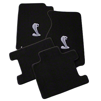 Black Floor Mats - Convertible - Cobra Logo (94-98 All)
