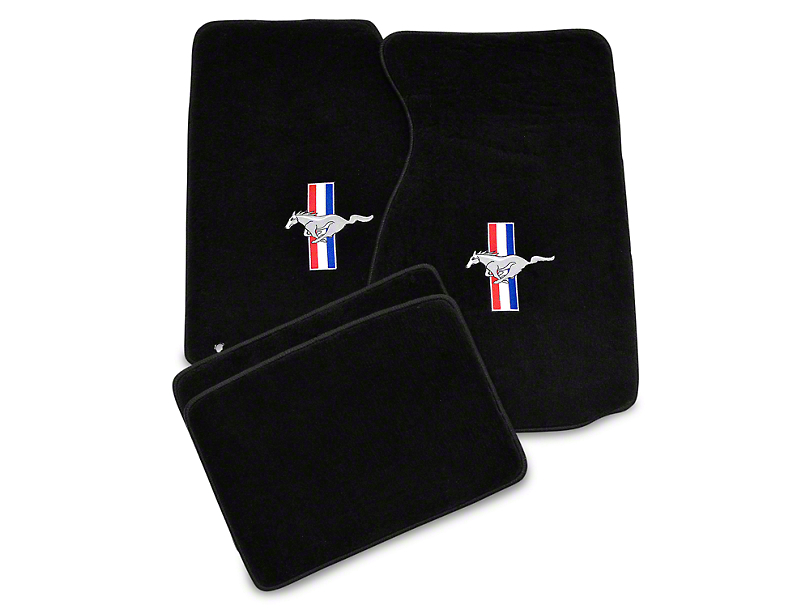 Lloyd Front & Rear Floor Mats w/ Tri-Bar Pony Logo - Black (94-98 Coupe)
