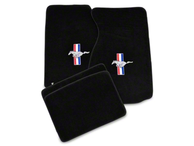 Lloyd Black Floor Mats - Coupe - Tri-Bar Pony Logo (94-98 All)
