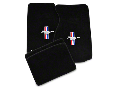 Lloyd Black Floor Mats - Tri-Bar Pony Logo (99-04 All)