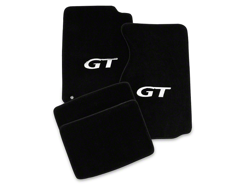 Lloyd Front & Rear Floor Mats w/ Silver GT Logo - Black (94-98 Coupe)