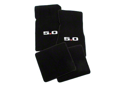 Black Floor Mats - 5.0 Logo (79-93 All)