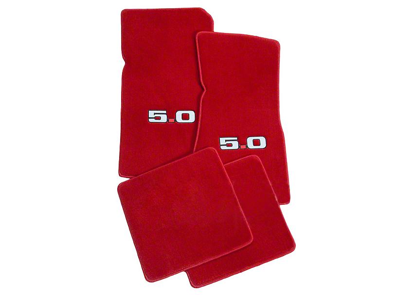 Lloyd Front & Rear Floor Mats w/ 5.0 Logo - Red (79-93 All)