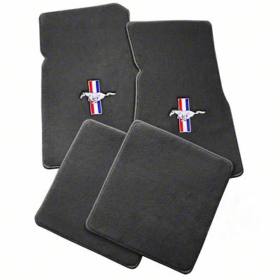 Gray Floor Mats - Pony Logo (79-93 All)