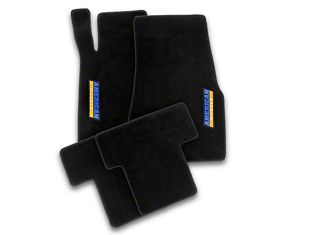 MethodWorks Black Floor Mats - AmericanMuscle Logo (05-10 All)