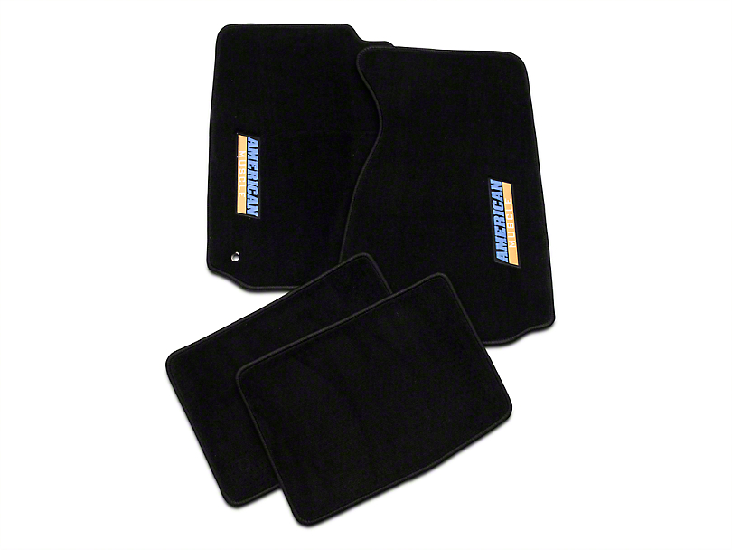Black Floor Mats - AmericanMuscle Logo (94-04 All)
