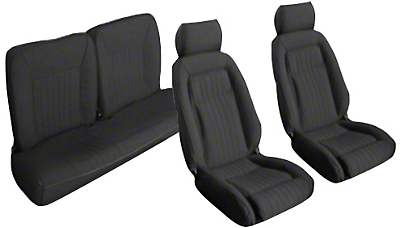 Black Front & Rear Sport Seat Upholstery - Hatchback (87-89 All)