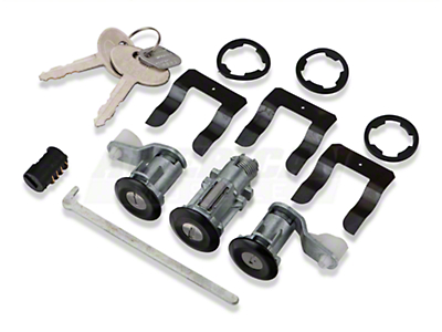 Lock Set - Black w/ Stainless Center (87-93 All)