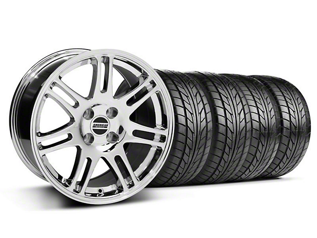 10th Anniversary Cobra Style Chrome Wheel & NITTO Tire Kit - 17x9 (87-93; Excludes 93 Cobra)
