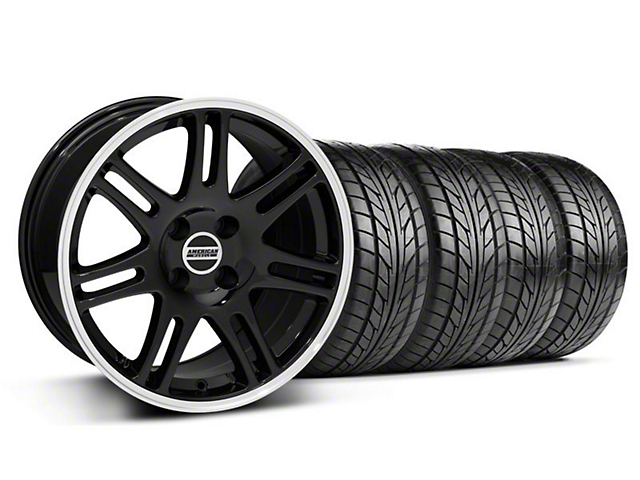 10th Anniversary Cobra Style Black Wheel & NITTO Tire Kit - 17x9 (87-93; Excludes 93 Cobra)