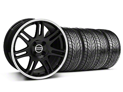 Black 10th Anniversary Style Wheel & NITTO Tire Kit - 17x9 (87-93; Excludes 93 Cobra)