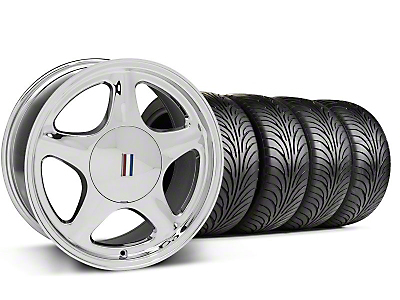 Chrome Pony Style Wheel & Sumitomo Tire - 5 Lug Kit - 17x8 (87-93; Excludes 93 Cobra)