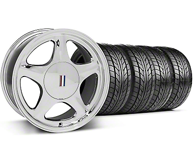 Chrome Pony Style Wheel & NITTO Tire - 5 Lug Kit - 17x9 (87-93; Excludes 93 Cobra)