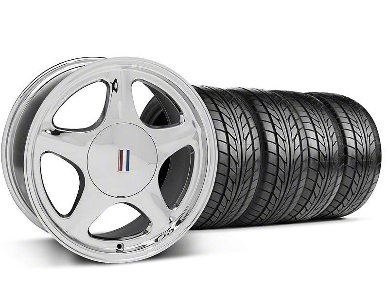 Pony Chrome Wheel & NITTO Tire Kit - 5 Lug Kit - 17x9 (87-93; Excludes 93 Cobra)