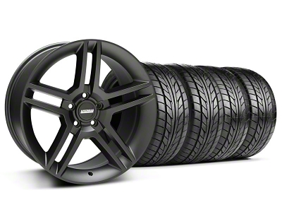 Staggered 2010 GT500 Style Matte Black Wheel & NITTO Tire Kit - 18x9/10 (05-14 All)