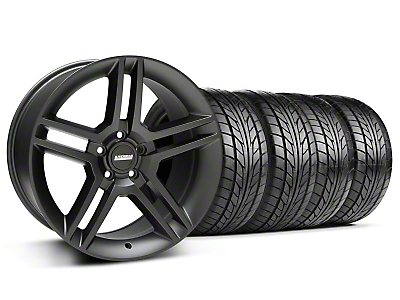 Staggered Matte Black 2010 Style GT500 Wheel & NITTO Tire Kit - 18x9/10 (05-14 All)