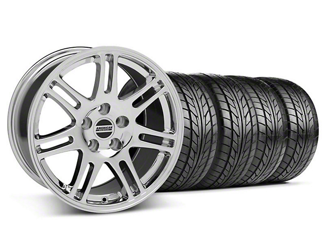 Staggered 10th Anniversary Cobra Style Chrome Wheel & NITTO Tire Kit - 17x9/10.5 (94-98 All)